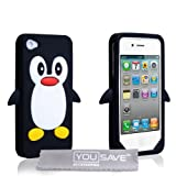 Fundas Apple iPhone 4 Carcasas Silicona Pingüino Caso Negro