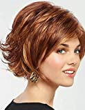 YONG moda afuera alas marrones peluca rizada corta curva naturales,