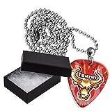 Taurus Zodiac Star Sign Boxed Metal Guitarra Pick Necklace Collar