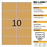 mr-label en blanco papel Kraft marrón etiqueta adhesivo-Rectángulo redondeado, permanente