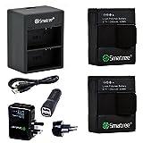 Smatree Batería(paquete de 2) con cargador de doble canal +