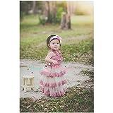 Vestido de encaje fluido modelo beige, rosa y 1/2 años,