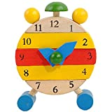 zolimx Reloj de madera juguetes artesanales para niños juguetes educativos