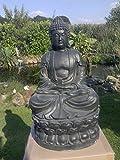 Nº 0814meditando Buda 65cm en Gris/antrazith Estatua Figura Escultura Regala