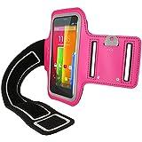 igadgitz Rosa Brazalete Armband Sports Gym Jogging para Motorola Moto