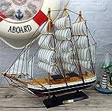 YONG Regalos creativos personalizados madera velero 34CM modelos Inicio decoración