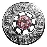 Kilt Fly Plaid broche rosa piedra plata acabado/broche de solapa