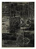 Barefoot estilo vintage Patchwork Negro y Plateado ArtSilk viscosa Alfombra