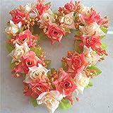 Bluelover Decoración de boda colores simulación flor corazón guirnalda Artificial