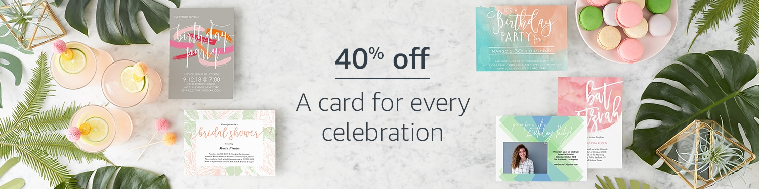 40% off, a card for every celebration