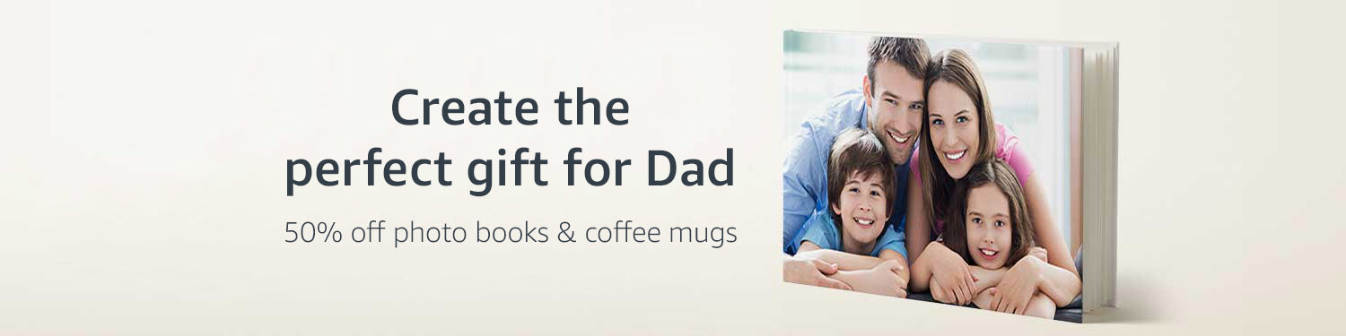Create the perfect gift for dad. 50% off photo books and coffee mugs.