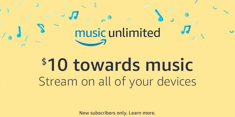 $10 towards music. Stream on all of your devices.