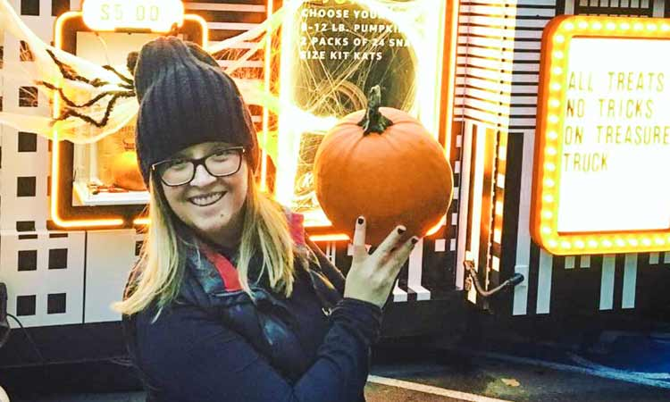 Pumpkins in front of the truck