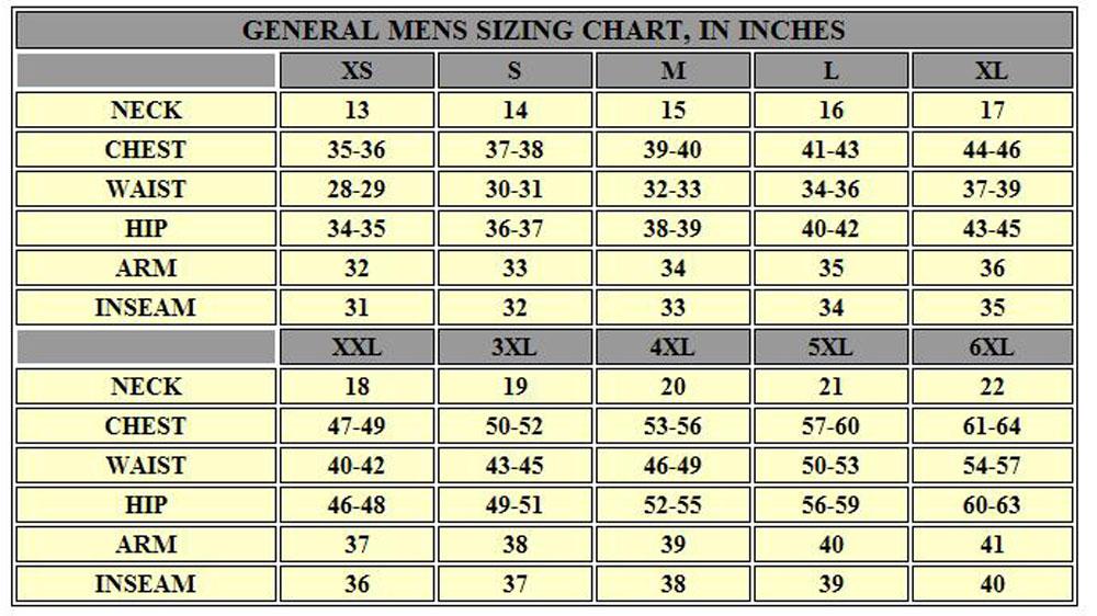 General Mens Sizing Chart