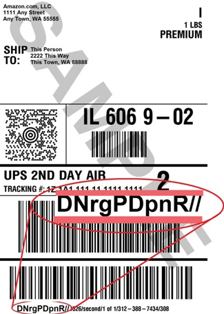 Image demonstrating where routing information appears on the shipping label