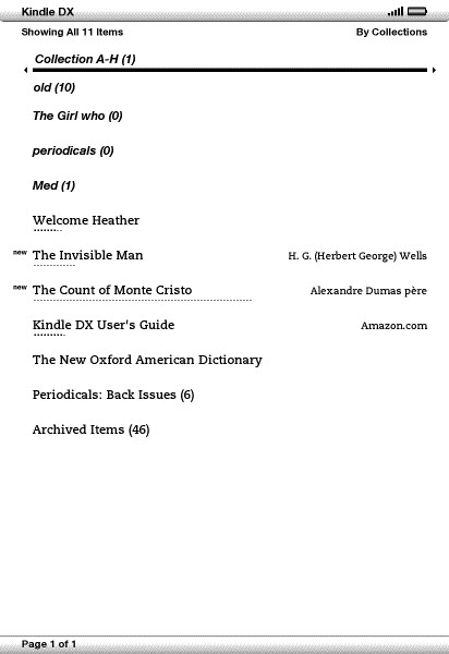 Illustration of the Kindle2 Home screen.
