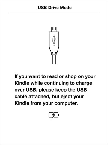 Illustration of Kindle screen when in USB drive mode.