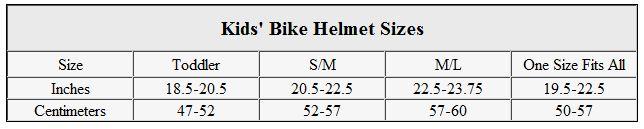 Helmet Bike Helmet Size Chart By Age
