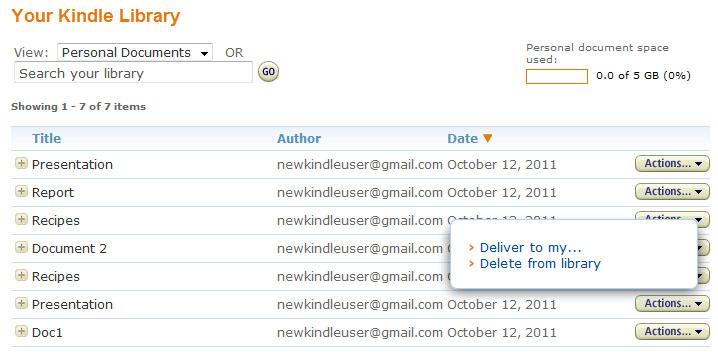Administrar los documentos personales archivados en tu Kindle Library