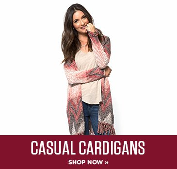 Casual Cardigans. Shop Now.