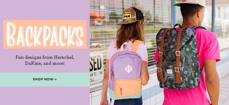 Backpacks. Fun designs from Herschel, DaKine and more! Shop the experience.