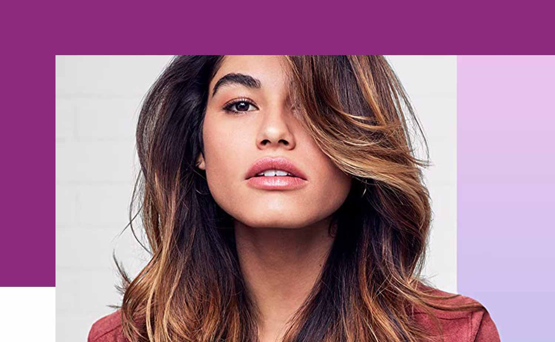 Female model with dark highlighted hair