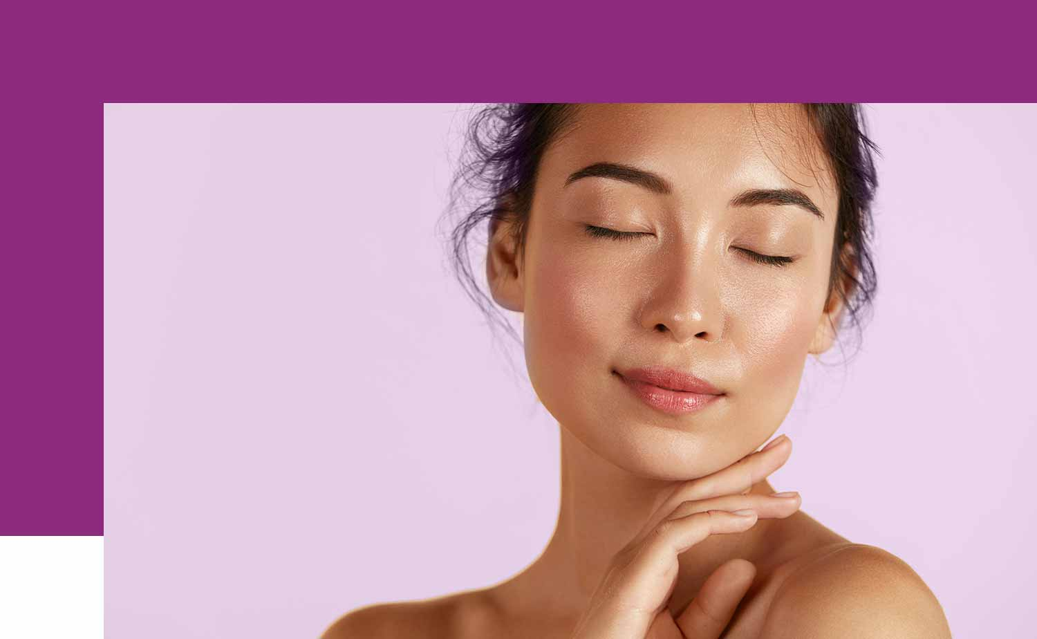Woman  with glowing skin over skin care shop button