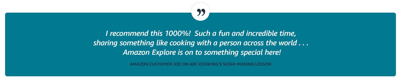 Customer quote. Amazon customer Joe on ABC cooking's sushi-making lesson.