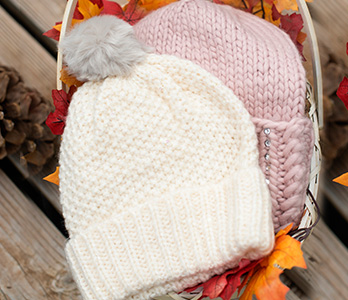 Women's Ivory And Pink Beanies