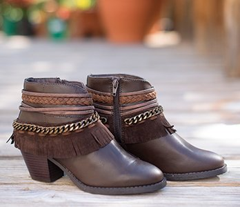 Brown Booties With Fringe & Chains