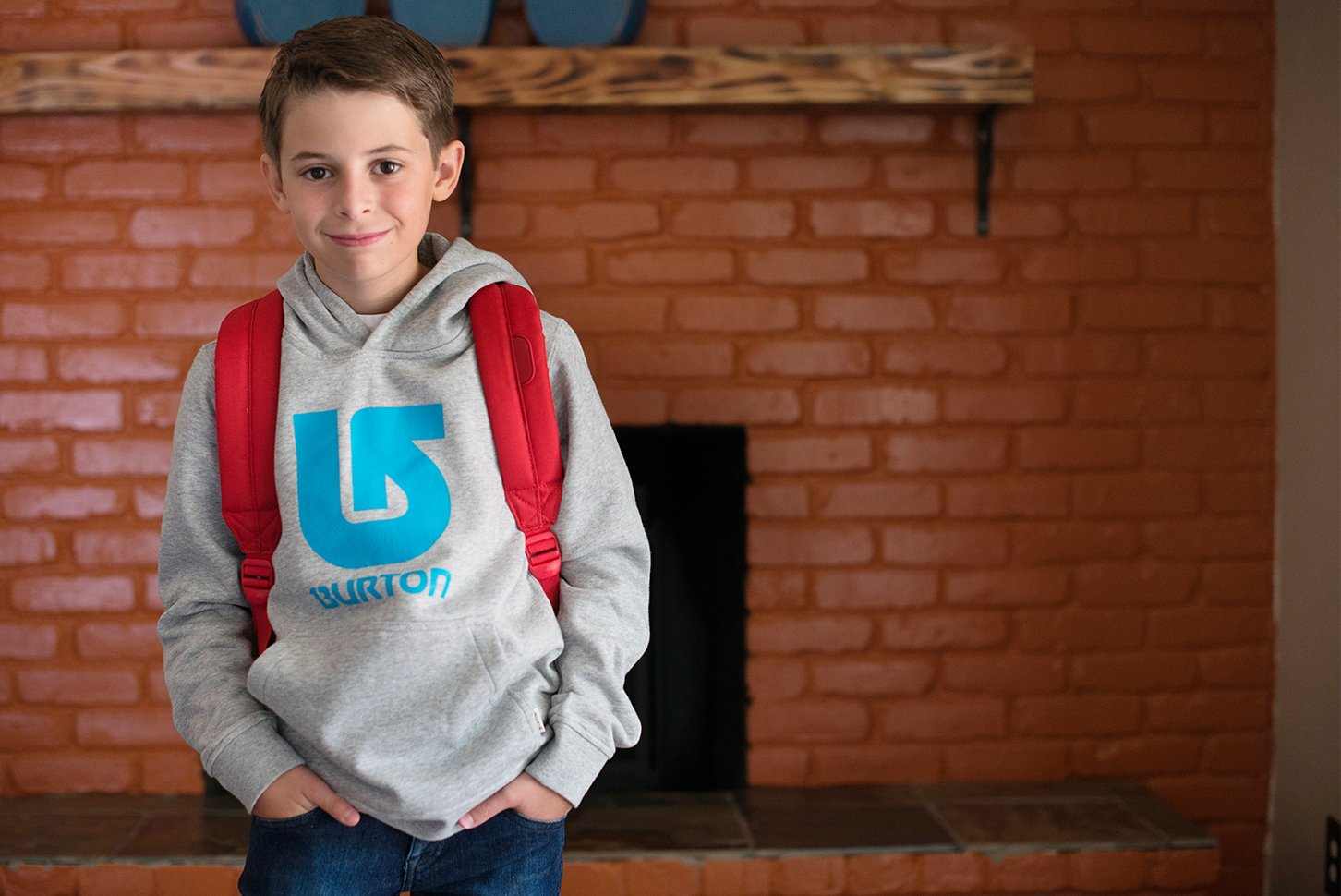 Boy's Outfit With Burton Sweatshirt, Jeans And Sneakers