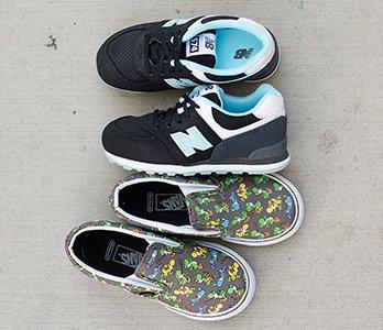 Boy's Black New Balance Sneakers And Nintendo Vans