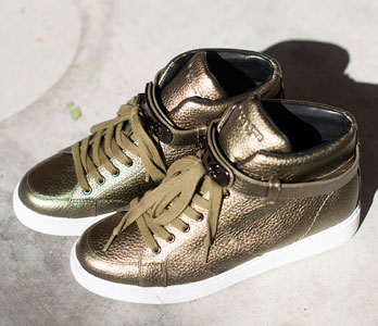 Gold High-Top Fashion Sneakers