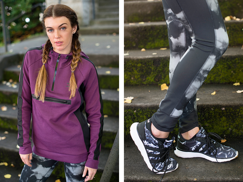Purple Top And Grey And Black Workout Pants With Sneakers