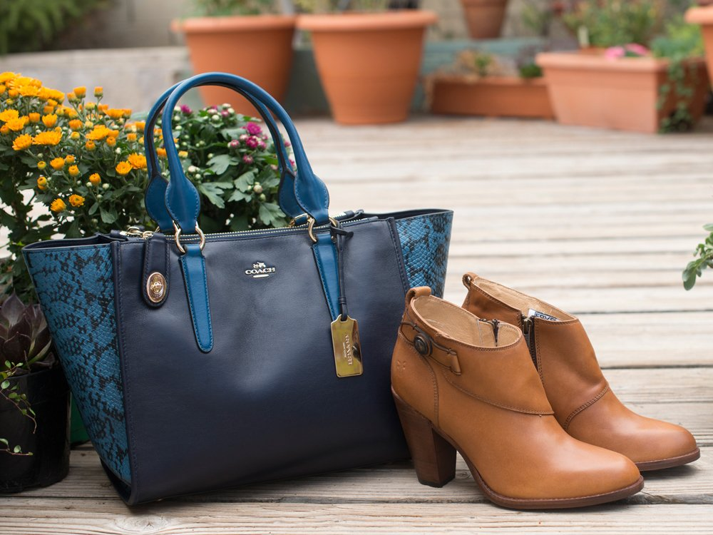 Blue COACH Bag And Tan FRYE Booties