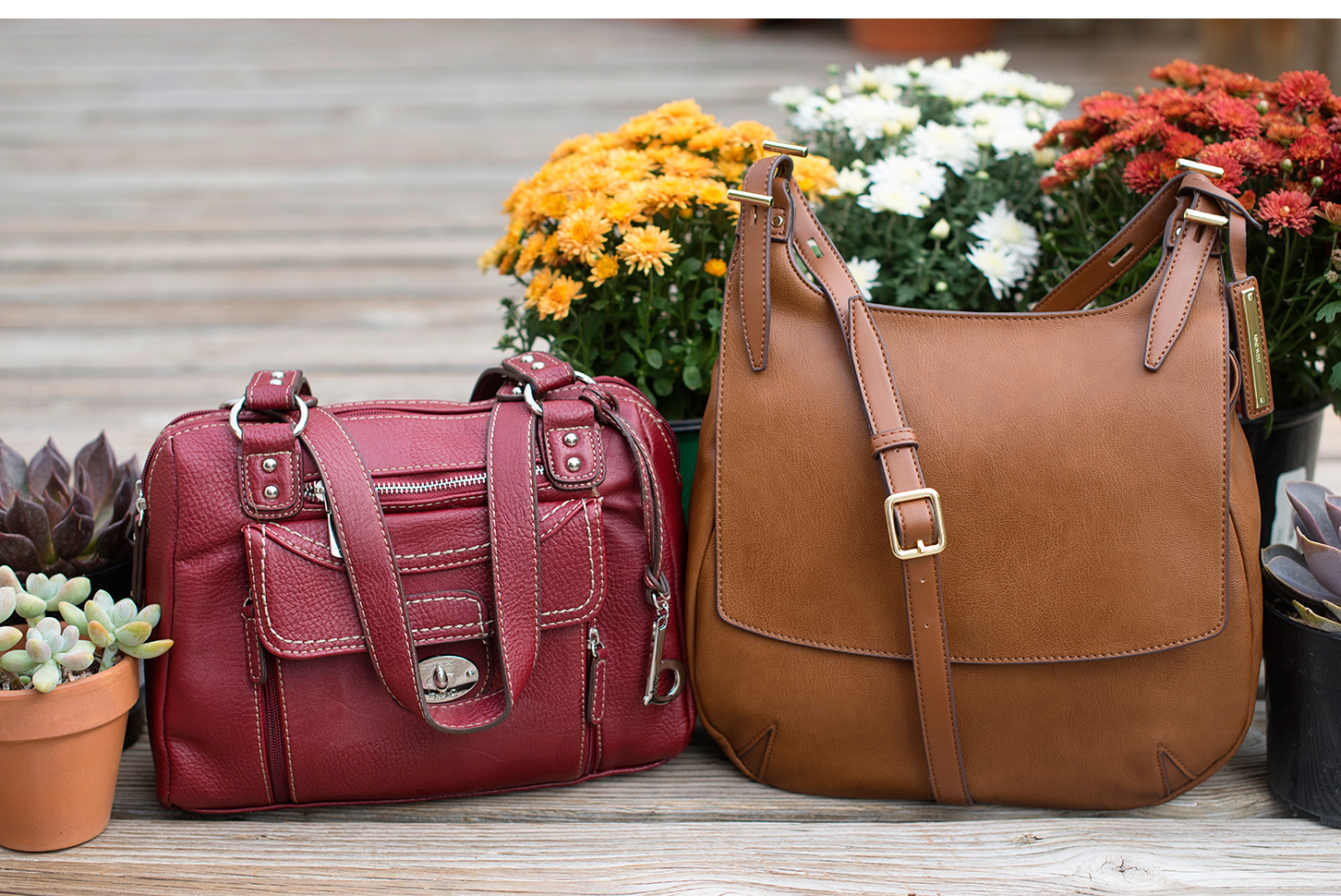 Maroon Satchel And Tan Handbag For Everyday Style