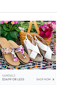 Sandals $34.99 or less