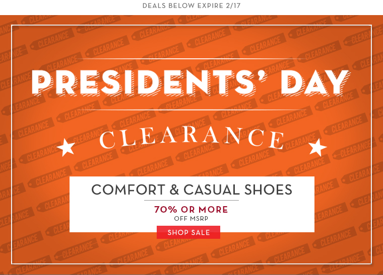 Rockport President's Day Shoe Sale: up to 70% off + Extra 25% off Coupon Rockport is taking up to 70% off select Outlet items during their President's Day Sale. Even better, get an extra 25% off with Coupon Code: