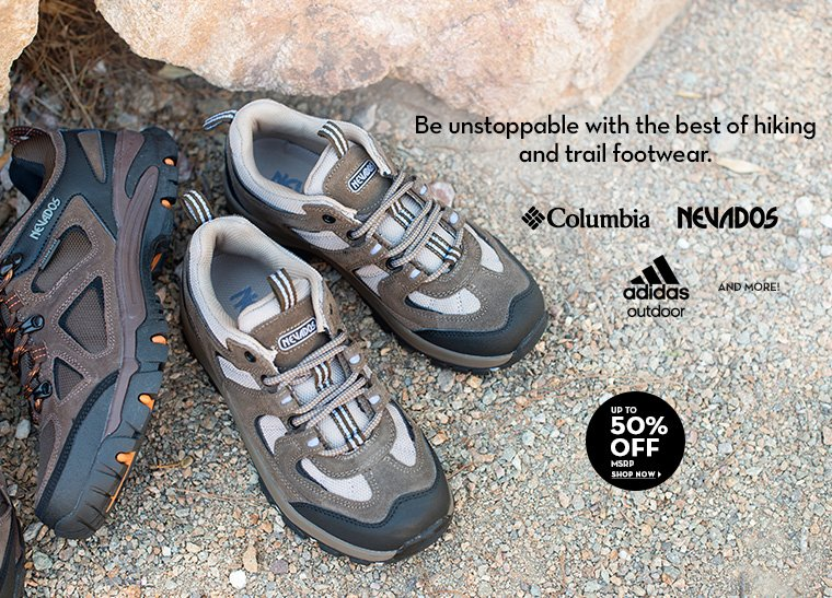 A 7/25 - Hiking and Trail Footwear Up to 50% off MSRP