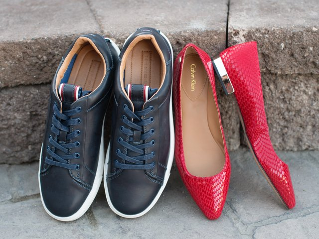 A 12/9 - Men's Tommy Hilfiger Navy Shoes And Women's Calvin Klein Red Flats