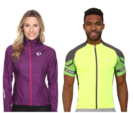 B 1/18 - Men's Bright Cycling Top And Women's Purple Cycling Top