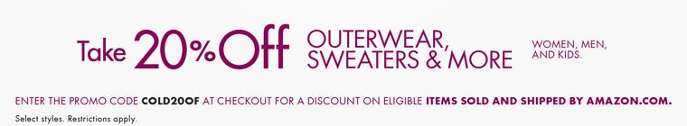 Амазон предлагает скидку 20% на верхнюю одежду, свитера и др. для женщин, мужчин и детей по купону COLD20OF