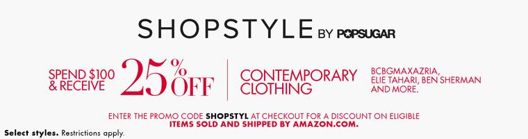 美国亚马逊:时尚衣物,满100美金,75折特惠