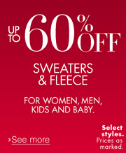 Up to 60% Off Sweaters & Fleece
