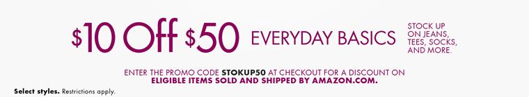 美国亚马逊:衣物类产品满$50-10