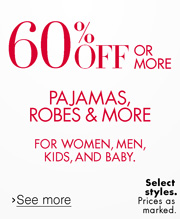 Sleepwear 60% Off or More