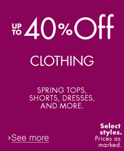 Up to 40% Off Clothing