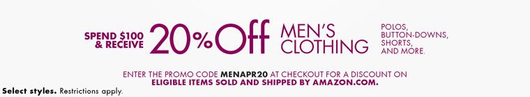 美国亚马逊:男士春夏季服饰,满$100八折特惠