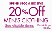 20% Off $100 Men's Clothing