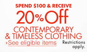20% Off Contemporary and Timeless Clothing